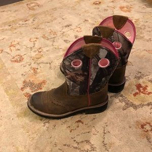 Ariat camouflage and pink boots